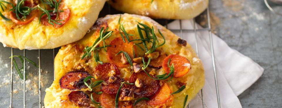 Focaccia s karamelizovanými sladkými brambory