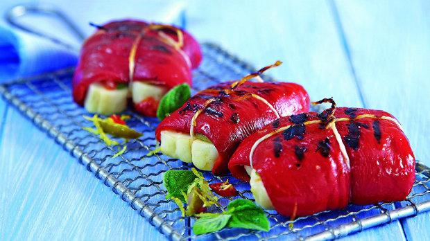 Grilované papriky se sýrem