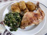 Pečená kuřecí stehna s listovým špenátem recept