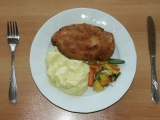 Kuřecí řízek s bramborovou kaší recept