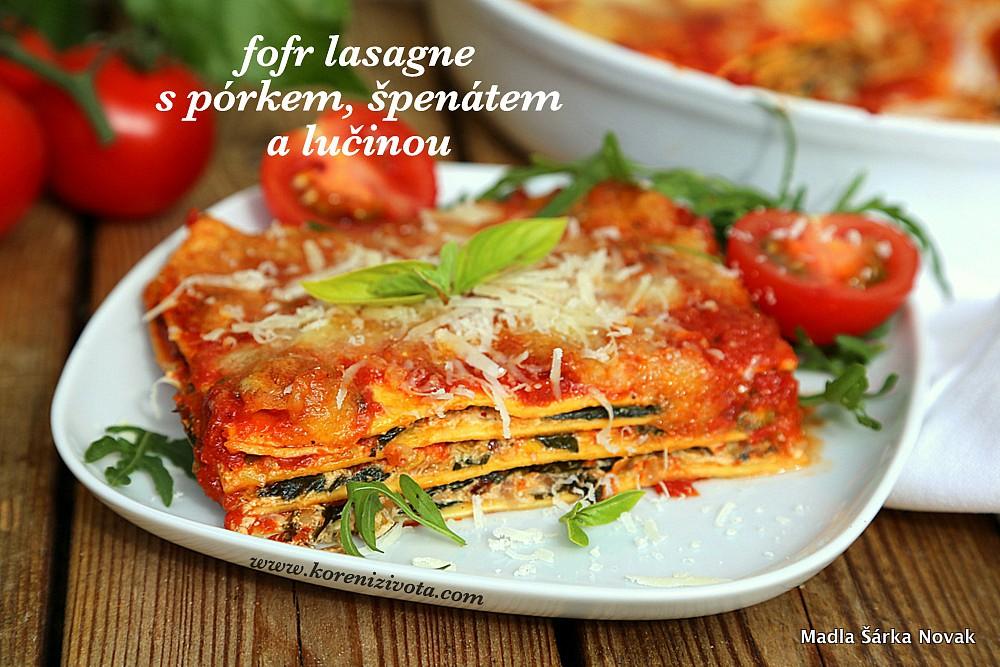 Fofr lasagne s pórkem, špenátem a lučinou recept