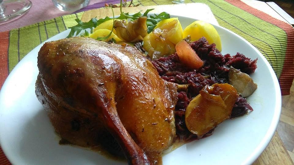 Kachna pečená s jablky, podlévaná vínem a medem recept ...