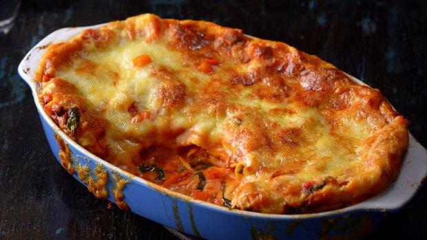 Dýňové lasagne s houbami