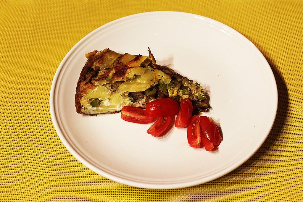Bramborový koláč se žampiony a hráškem recept