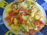Zapečené brambory s rajčaty a sýrem recept