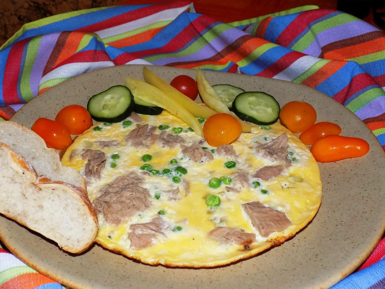 Tuňáková omeleta s hráškem recept