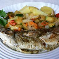 Pstruh s restovanou zeleninou recept