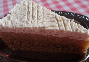 Kávový dort (řez) s pudinkem