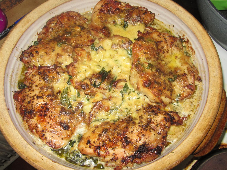 Kuřecí ve smetanové omáčce s česnekem a parmazánem, pečené s ...