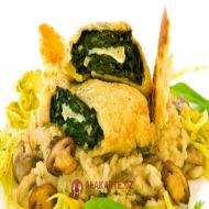 Houbové risotto se špenátovou rolkou recept