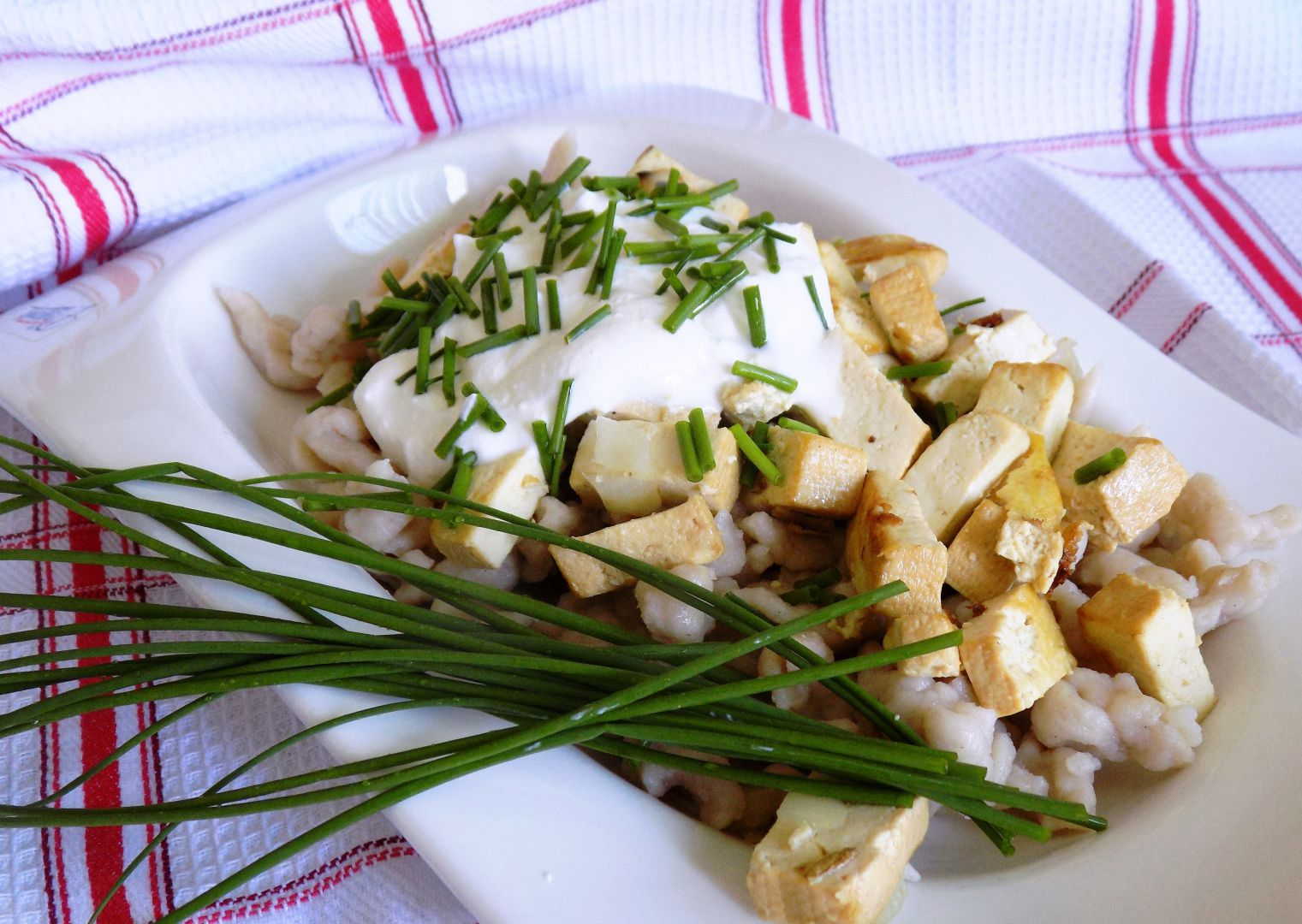 Halušky ze žitné mouky s tofu recept