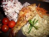 Tymiánová kuřecí stehna se zeleninovo-smetanovou omáčkou ...