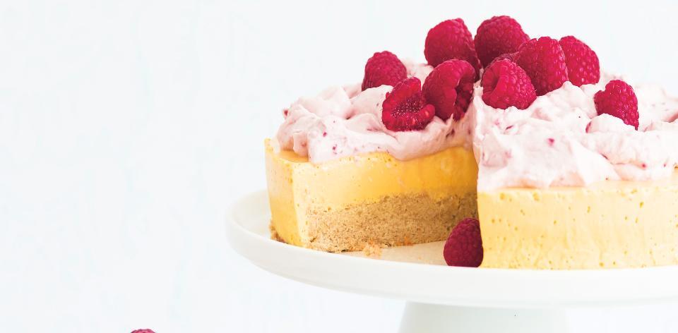 Mangovo-malinový cheesecake