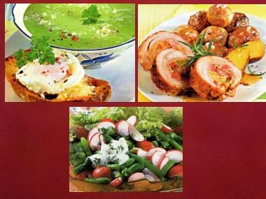 Sváteční oběd 9  Polévka s toastem, jehněčí roláda a salát ...
