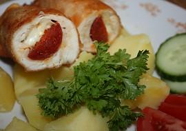 Smažená kuřecí prsa s maďarskou klobásou a sýrem recept ...