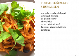 Tomatové špagety s hummusem recept