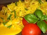 Kuřecí kari rýže s bešamelovým přelivem recept