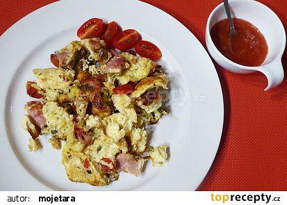 Vejce se šunkou, rajčaty, jalapeňo a ostrým dipem recept ...