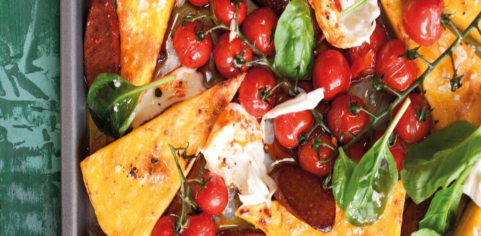 Rajčatovo-mozzarellový salát s polentou