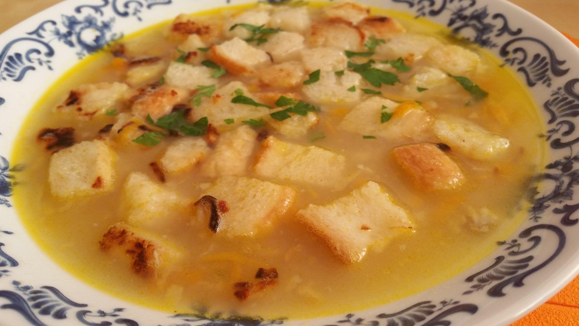 Rybí polévka s česneko-cibulovými krutony recept