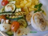 Rybí filé s bramborem a grilovanou zeleninou recept