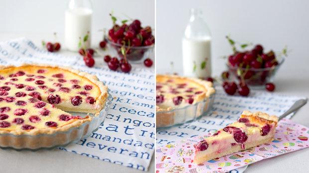 Višňový koláč se smetanovým krémem