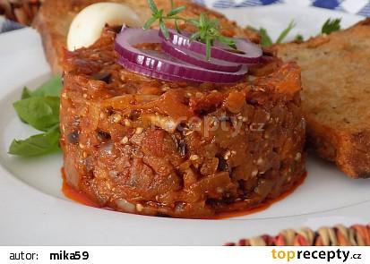 Tataráček z lilku a sušených rajčat recept