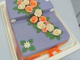 Fialový dort s růžemi recept