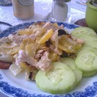 Zapečené smetanové brambory s kuřecím masem recept