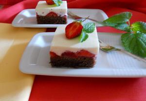 Jahodové řezy s bílou čokoládou