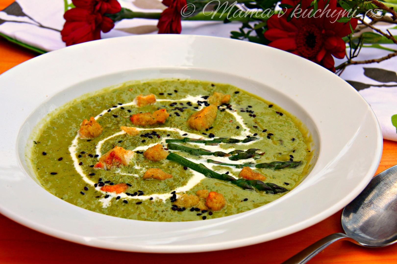 Chřestovo-hrášková krémová polévka recept