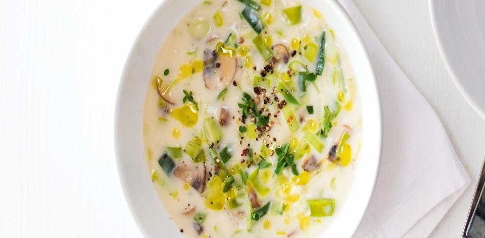 Pórkovo-houbová polévka