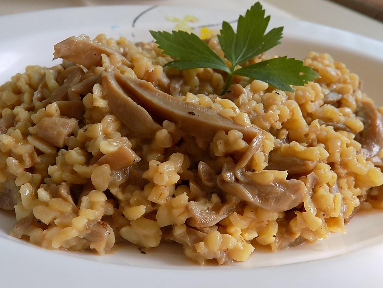 Bulgur s hlívou a sojovou smetanou recept