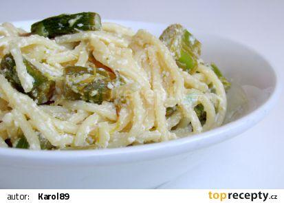 Citronové špagety s chřestem a ricottou recept
