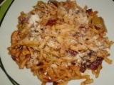 Špecle s kuřecím masem a sušenými rajčaty recept