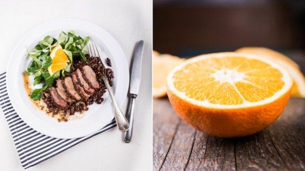 Pečená kachní prsa s pomerančovou omáčkou a salátem z červené ...