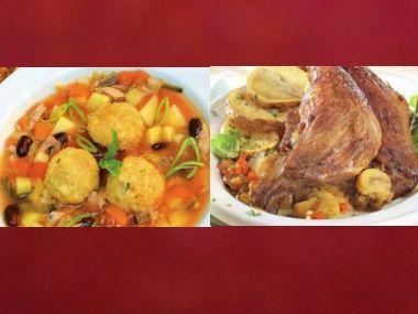 Oběd 79  Zeleninová polévka s knedlíčky a Husí stehna