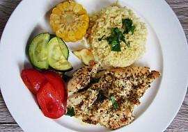 Pečená kuřecí prsa s bulgurem a zeleninou recept