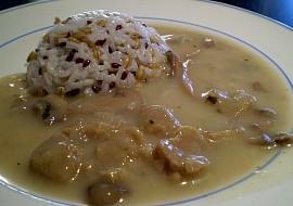 Sojové na houbách s rýží na divoko  vegan recept