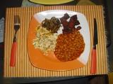 Víkendová snídaně R-o-m-i-k  vejce, slanina, fazole, cibule recept ...