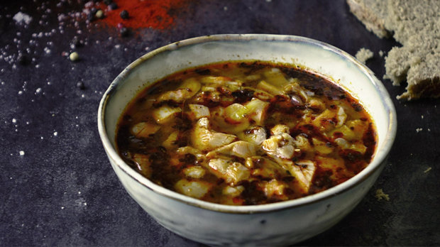 Dršťková polévka z hlívy