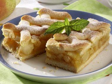 Mřížkový hruškový koláč
