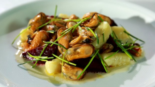 Slávky s červenou řepou a bramborovými gnocchi