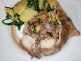 Králík s nádivkou a brambory se špenátem recept