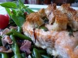 Křupavý losos na zelených fazolkách recept