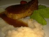 Hovězí filet s hráškovým a květákovým pyré recept