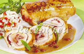 Kuře s houbovou nádivkou recept  drůbeží maso