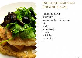 Pstruh s Hummusem a černými olivami recept