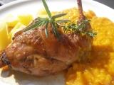 Marinovaný králík s dýňovým zelím recept