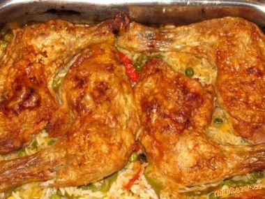 Kuřecí čtvrtky pečené na zelenině